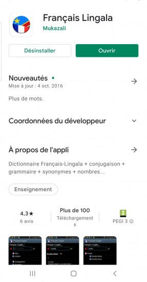 Dictionnaire Lingala-Français sur GooglePlay